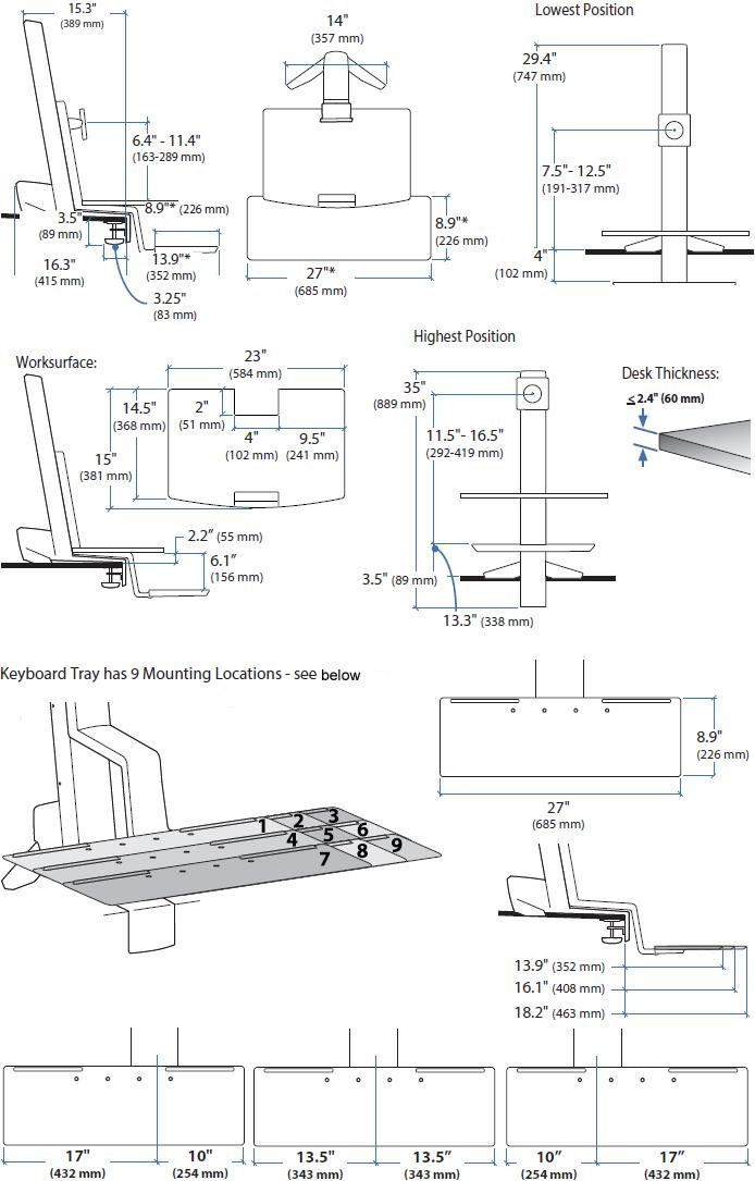 33 351 211 Ergotron Workfit S Standing Desk Single Hd