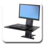 Ergotron 33-415-085 WorkFit-SR Rear Mount Single Sit-Stand Workstation - Black