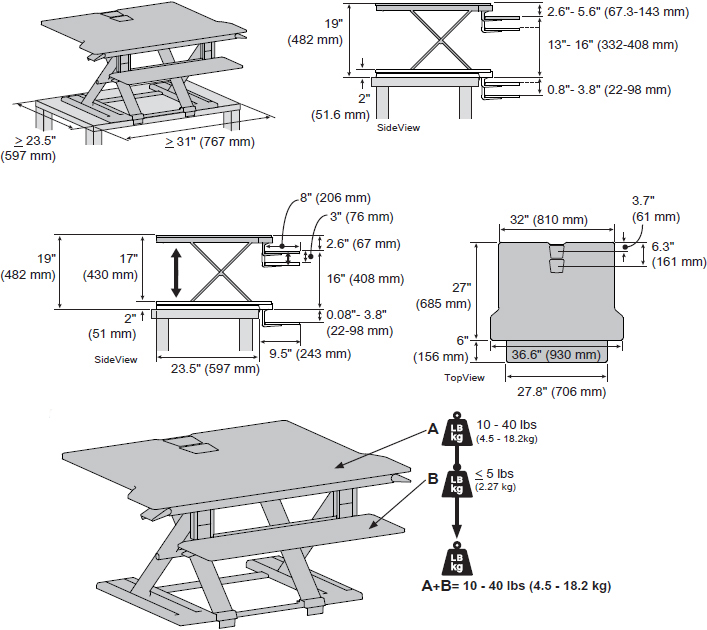 Technical Drawing for Ergotron 33-467-921 WorkFit-TX Standing Desk Converter