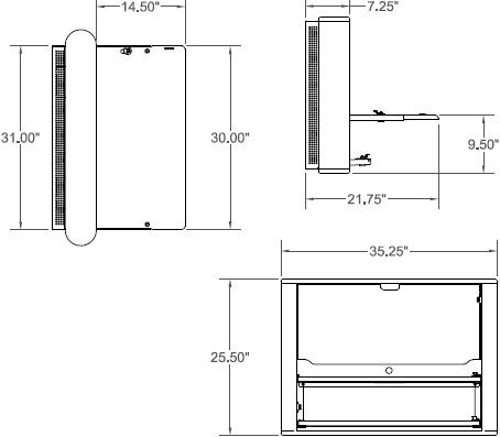 Technical Drawing for Ergotron EK3616TB Anthro eNook Standard, Wall Mount Desk Workstation