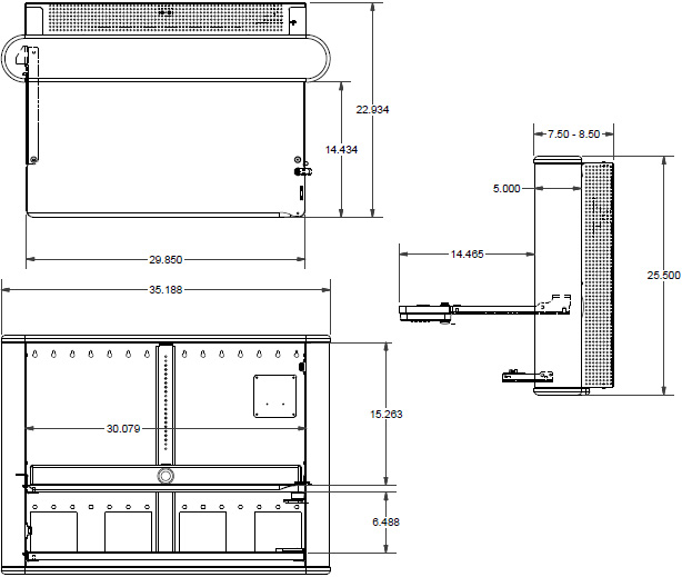 Technical Drawing for Ergotron EPM3616SM Anthro eNook Pro, Wall Mount Desk Workstation