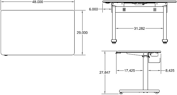 Technical Drawing for Ergotron MVBD48SS Elevate 48, Electric Sit-Stand Desk