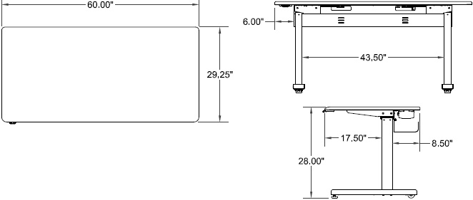Technical Drawing for Ergotron MVBD60SS Elevate 60, Electric Sit-Stand Desk