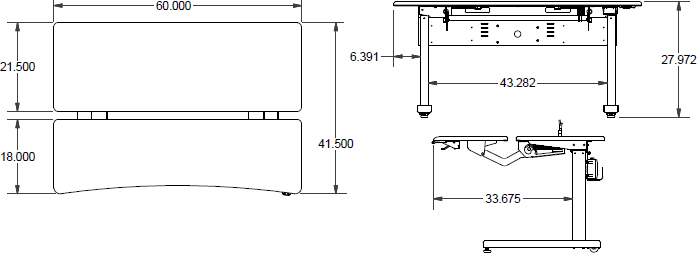 Technical Drawing for Ergotron MVJB60SS Elevate Adjusta 60, Electric Sit-Stand Desk