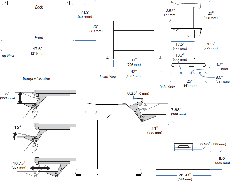 Technical Drawing for Ergotron 24-271-928 WorkFit-D, Sit-Stand Desk
