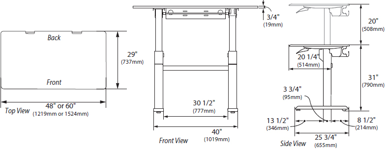 Technical Drawing for Ergotron 24-567-F03 WorkFit-DL 48, Sit-Stand Desk (Black)