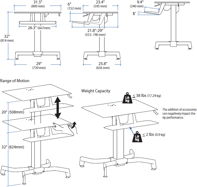 Technical Drawing for Ergotron 24-280-927 WorkFit-PD, Sit-Stand Desk (walnut)