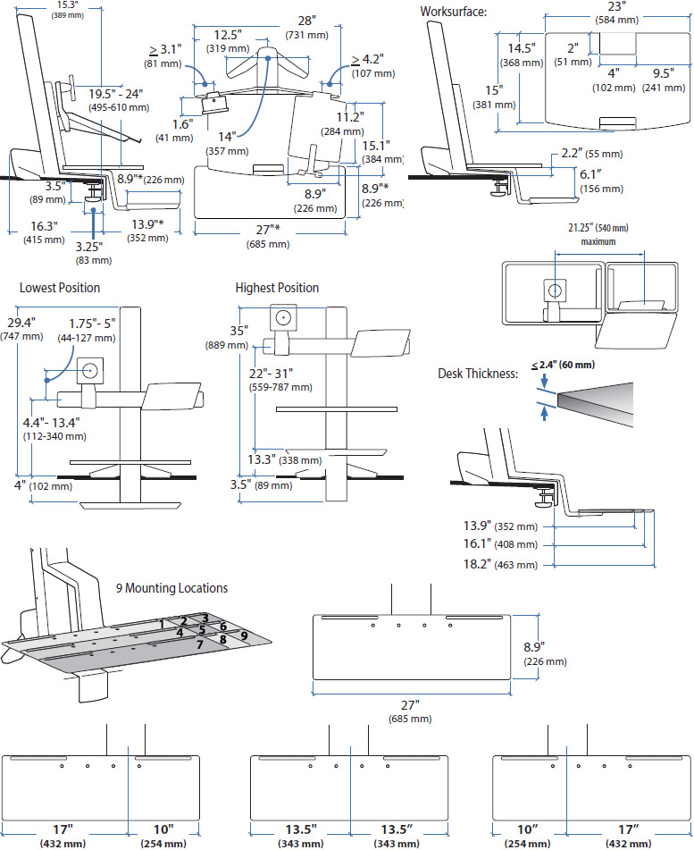 Technical drawing for Ergotron WorkFit-S, LCD & Laptop Workstation with Worksurface