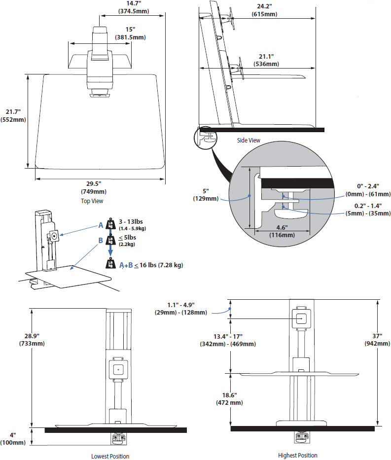 Technical Drawing for Ergotron 33-416-062 WorkFit-SR Rear Mount Sit Stand Heavy Monitor Workstation - White