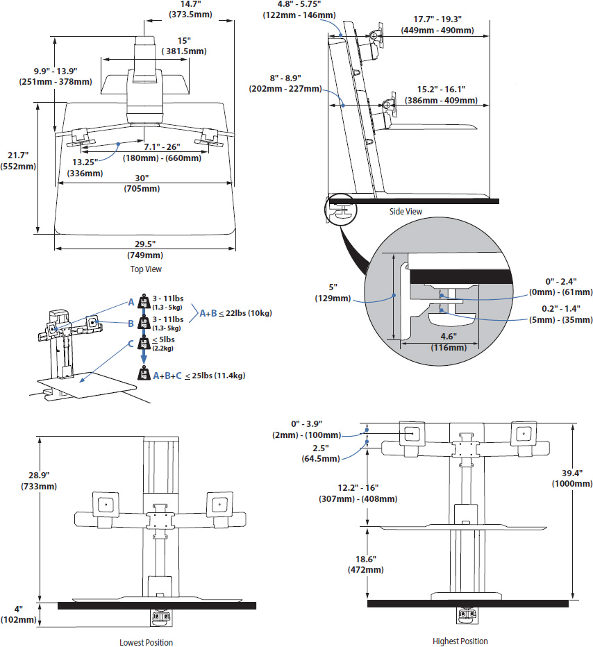 Technical Drawing for Ergotron 33-419-062 WorkFit-SR Rear Mount Dual Short Surface Workstation - White