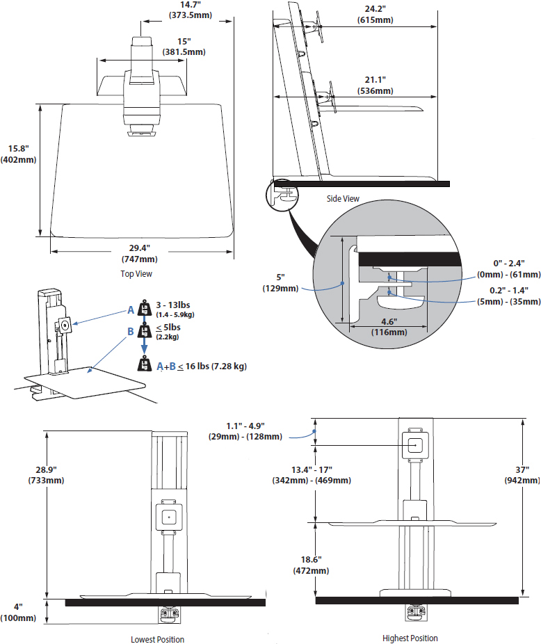 Technical Drawing for Ergotron 33-421-062 WorkFit-SR Rear Mount Heavy Monitor Short Surface Workstation, White