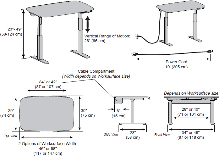 Technical drawing for Ergotron WorkFit Electric Sit-Stand Desk, 58
