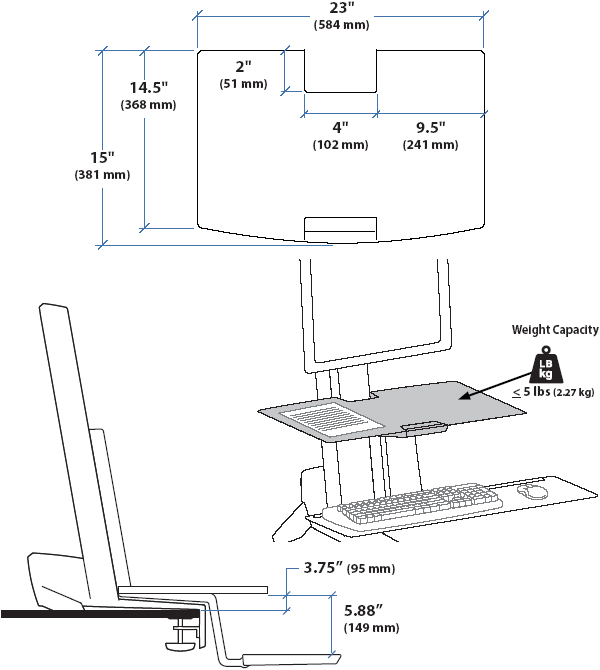 Technical Drawing for Ergotron 97-581-019 WorkFit-S Worksurface