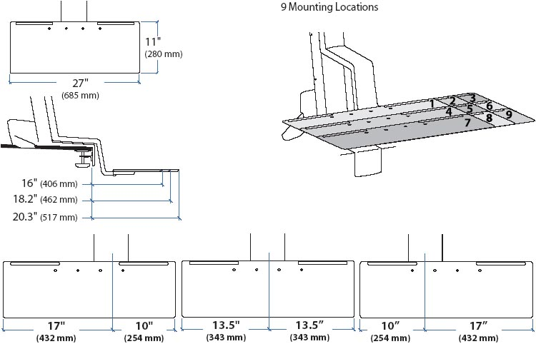 Technical drawing for Ergotron 97-651 Deep Keyboard Tray for WorkFit-S
