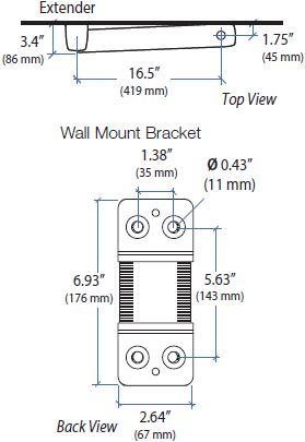 Technical Drawing for Ergotron 45-261-216 StyleView Sit-Stand Combo Extender