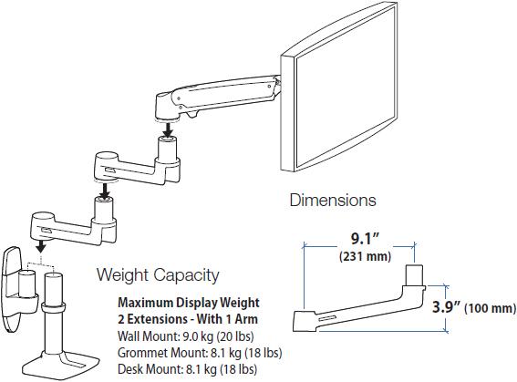 Ergotron 45-289-026 LX Extension for LX Arm Polished Aluminum