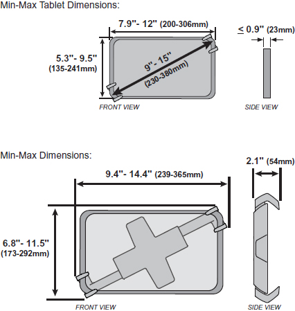 Technical Drawing for Ergotron 45-460-026 Lockable Tablet Mount