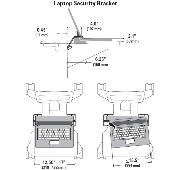 Technical drawing for Ergotron Laptop Security Bracket for Neo-Flex Mobile WorkSpace