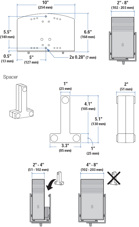 Technical Drawing for Ergotron Vertical Universal CPU Holder