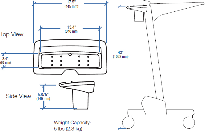 Technical Drawing for Ergotron 97-488-055 Basket and Handle Kit