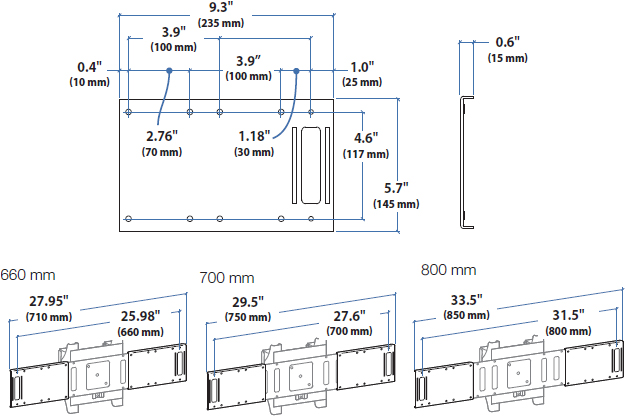 Technical Drawing for Ergotron 97-489 MMC 800 mm Kit