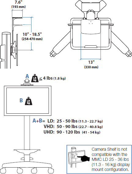 Technical Drawing for Ergotron 97-491-085 MMC Camera Shelf Kit