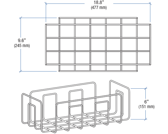 Technical Drawing for Ergotron 97-544 Neo-Flex Cart Wire Basket Kit