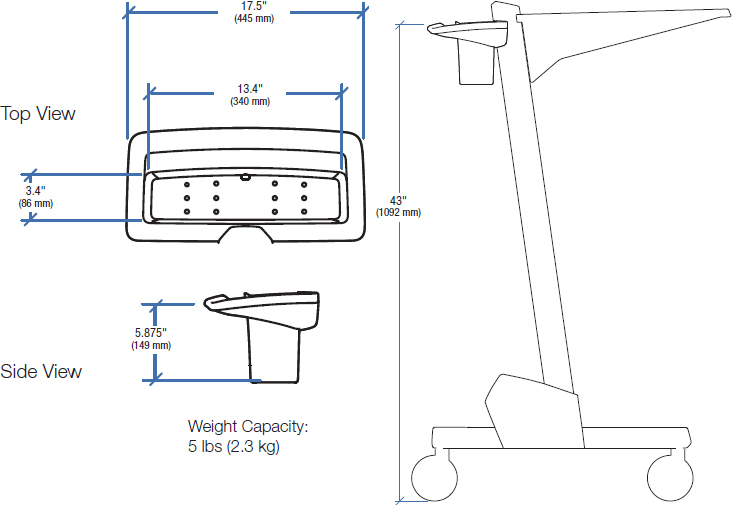 Technical Drawing for Ergotron 97-545 Neo-Flex Cart Basket and Handle Kit