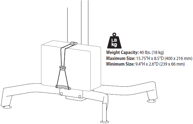 Technical Drawing for Ergotron 97-666 WorkFit-PD CPU Holder Kit