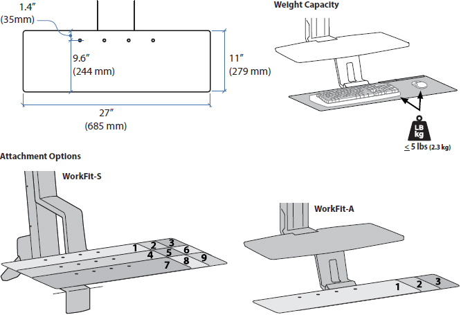 Technical Drawing for Ergotron 97-897 Deep Keyboard Tray for WorkFit
