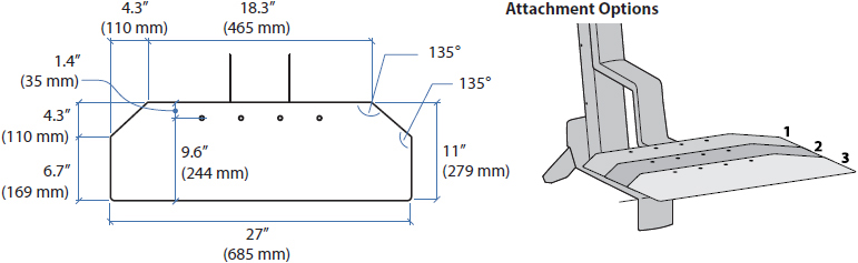 Technical Drawing for Ergotron 97-898 Corner Keyboard Tray for WorkFit