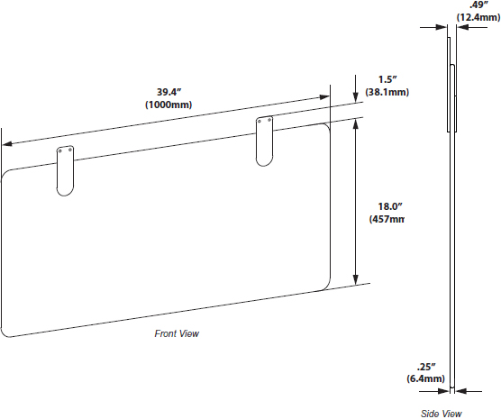 Technical Drawing for Ergotron 98-028-A61 Modesty Panel for WorkFit-DL