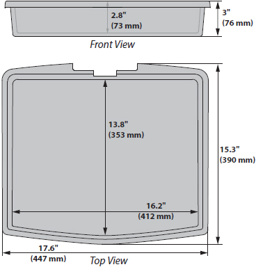 Technical Drawing for Ergotron 98-134 StyleView Front Tray