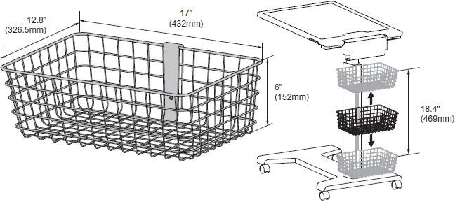 Technical Drawing for Ergotron 98-135-216 SV Large Wire Basket for SV Carts and eTable