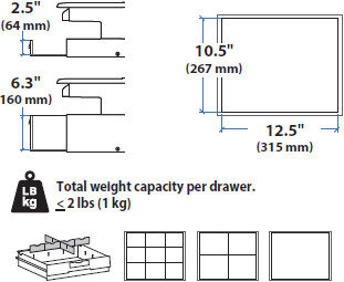 Technical Drawing for Ergotron 97-971 SV44 Primary Single Tall Drawer for Laptop Carts