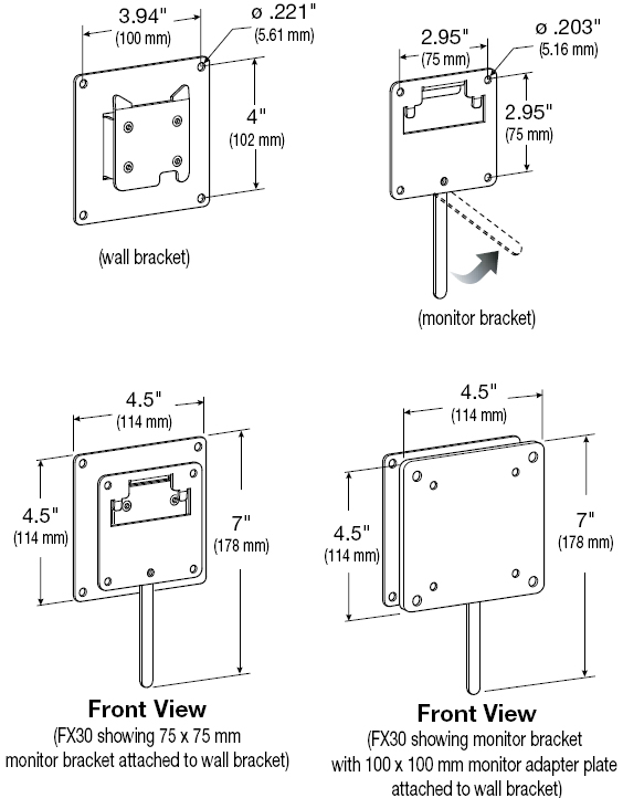 Technical Drawing for Ergotron 60-239-007 FX30 Wall Mount
