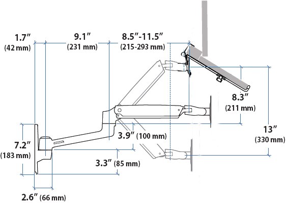 Technical drawing for Ergotron LX Notebook Wall Mount Arm