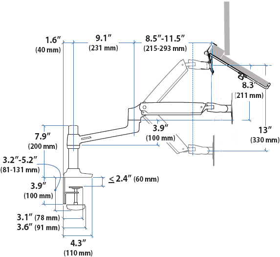 Technical Drawing For Ergotron LX Notebook Desk Mount Arm
