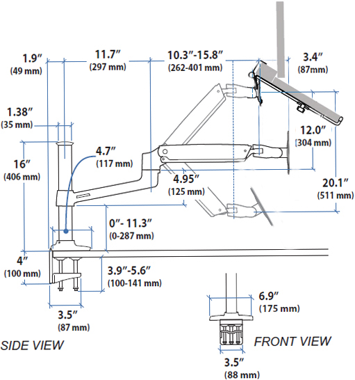 Technical drawing for Sit-Stand Desk Mount Laptop Arm, ErgoDirect ED-NB-LX2DM