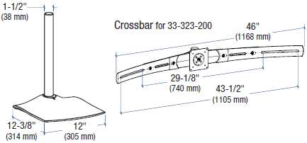 Technical Drawing for Ergotron 33-323-200 DS100 Triple-Monitor Desk Stand