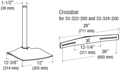 Technical Drawing for Ergotron 33-324-200 DS100 Quad-Monitor Desk Stand