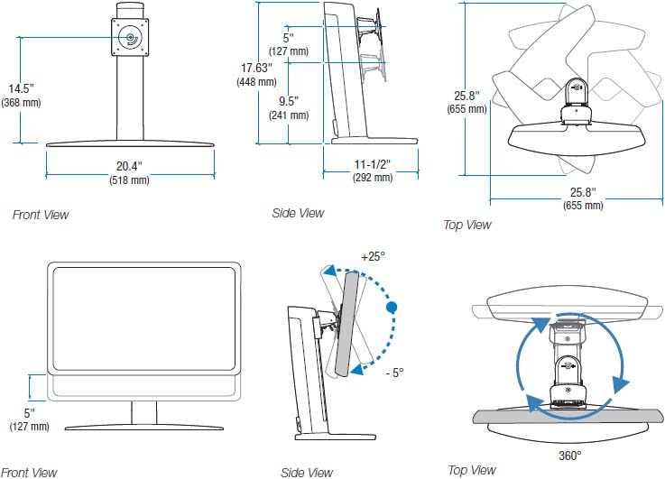Technical drawing for Ergotron 33-329-085 Neo-Flex Widescreen Lift Stand