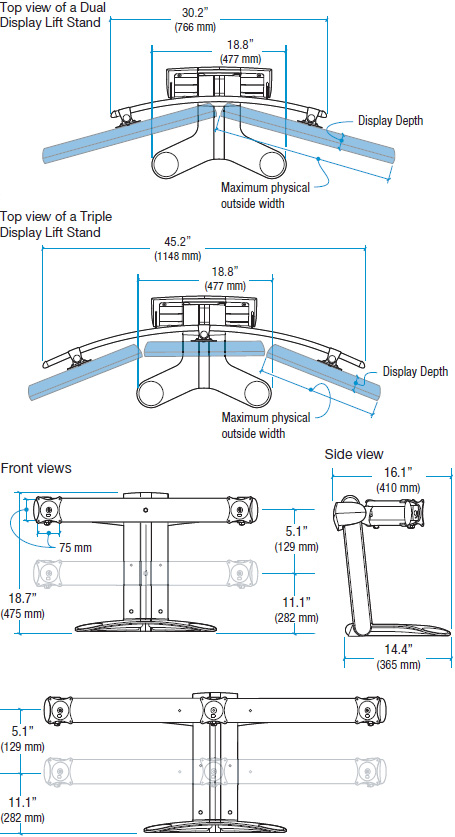 Technical Drawing for Ergotron 33-296-195 LX Triple Display Lift Stand