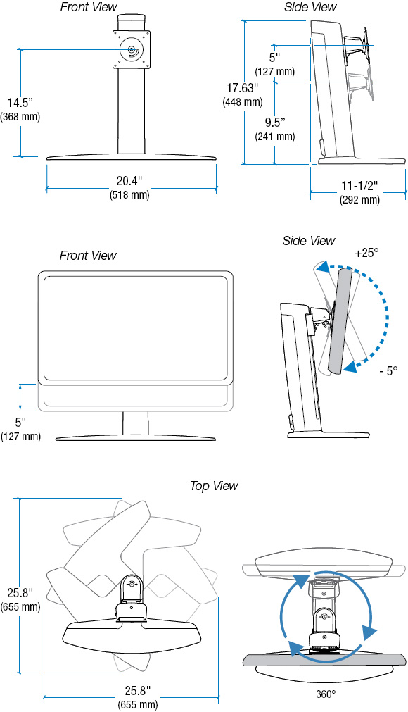 Technical Drawing for Ergotron 33329057 Neo-Flex WideScreen Lift Stand