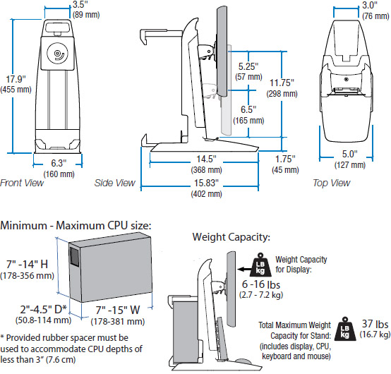 Technical Drawing for Ergotron 33-338-085 Neo-Flex All-In-One Lift and Pivot Stand with CPU Secure Clamp