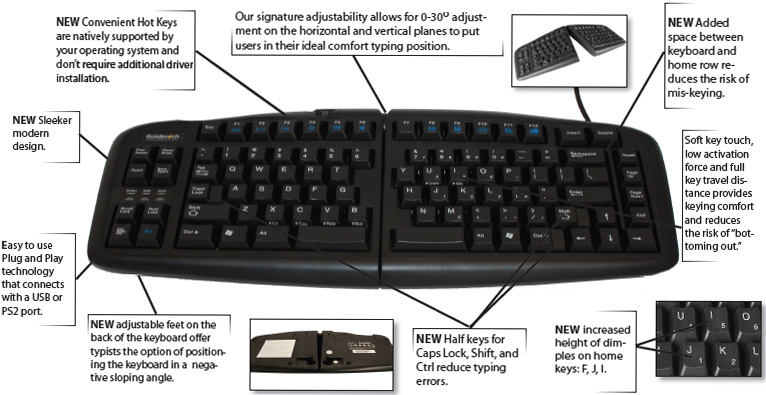 GoldTouch GTN-0099 PC Compatible V2 Adjustable Keyboard Black