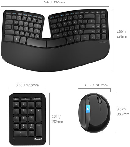 Technical Drawing for Microsoft L5V-00001 Sculpt Ergonomic Desktop Keyboard & Mouse