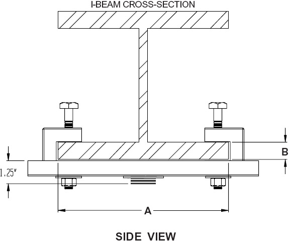 Technical drawing for  Peerless ACC558 or ACC559 Single Monitor I-Beam Clamp