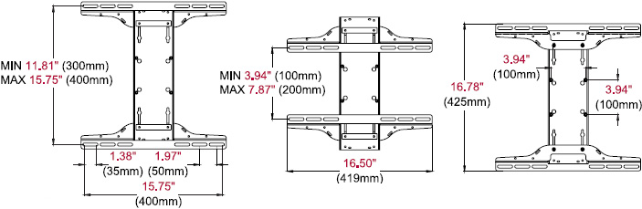 Technical drawing for  Peerless MOD-UNM Medium Universal Adapter for 22