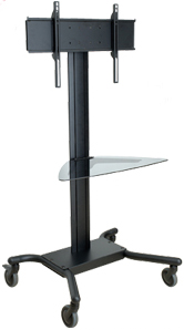 Peerless SR560G SmartMount Flat Panel TV Cart with Glass Shelf for LCD and Plasma Screens SR560-G